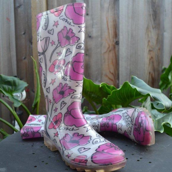 RARE - Coach Poppy Rain Boots